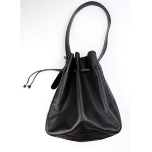 VTG LONGCHAMP Black Pebbled Leather Bucket Bag